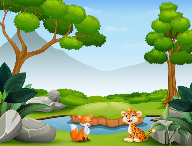 野生の自然の中で生きる動物漫画 Premiumベクター