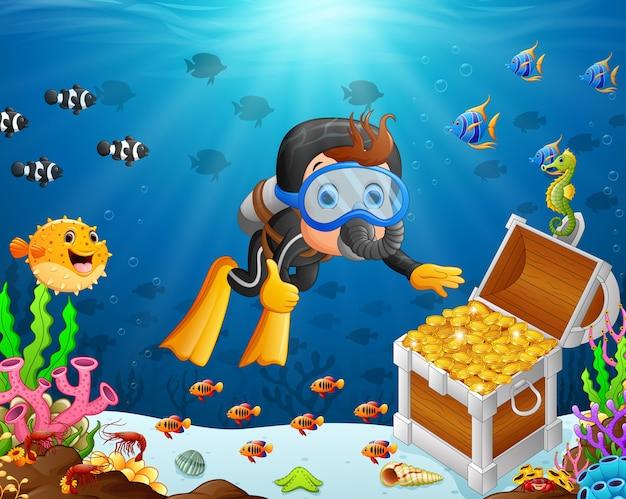 Иллюстрация водолаза под морем Premium векторы