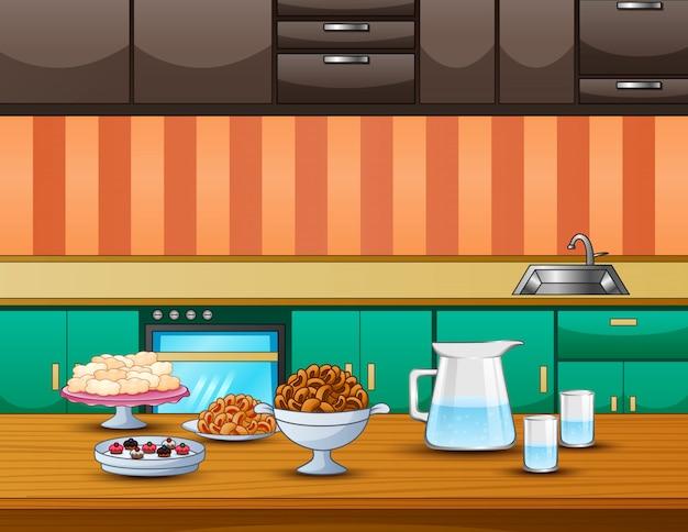 朝食の食べ物と飲み物を提供するテーブル Premiumベクター