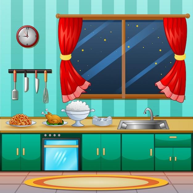 夕食の料理とキッチンインテリアの背景 Premiumベクター