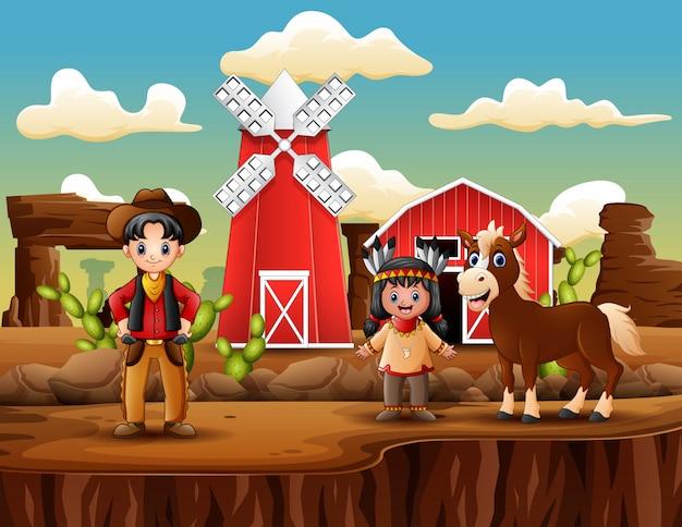 カウボーイとインドの女の子と野生の西の農場 Premiumベクター