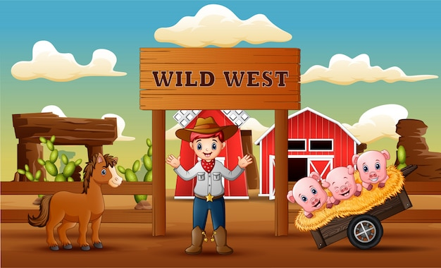 カウボーイと動物の農場の野生の西の背景 Premiumベクター