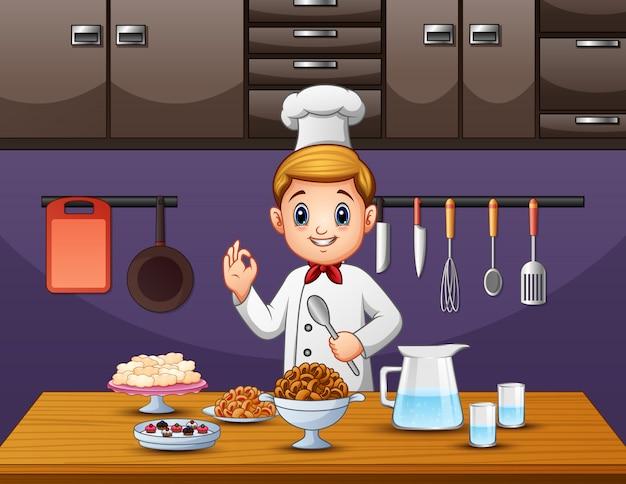 シェフは食べ物を味わい、準備ができている Premiumベクター
