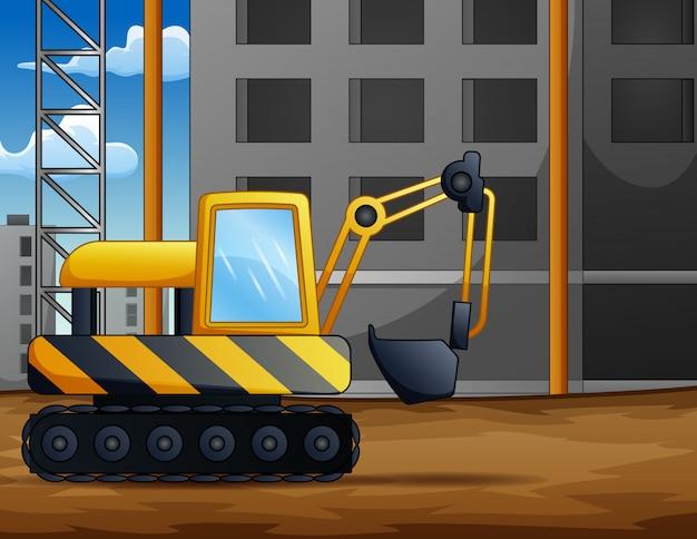 建設現場でのバックホウの背景 Premiumベクター