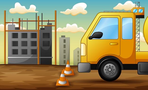 建設現場でのトラックの背景 Premiumベクター