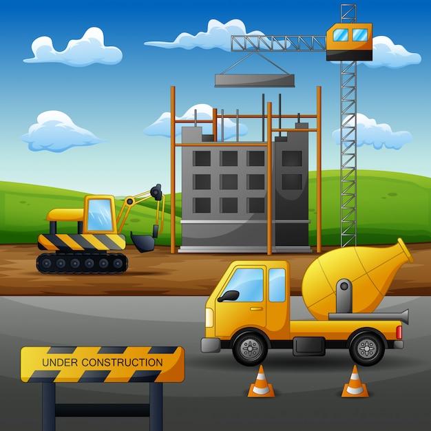 設備を備えたプロセス建設現場の概念 Premiumベクター