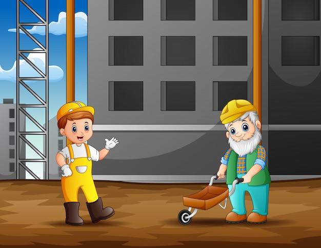 建設現場の背景で建設労働者 Premiumベクター