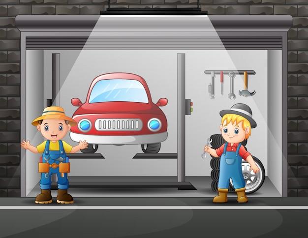 Автосервис, мастерская по обслуживанию работников мультфильмов крытый Premium векторы