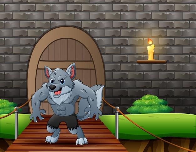 吊り橋の漫画狼 Premiumベクター