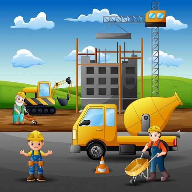 男性ビルダーと建設機械 Premiumベクター