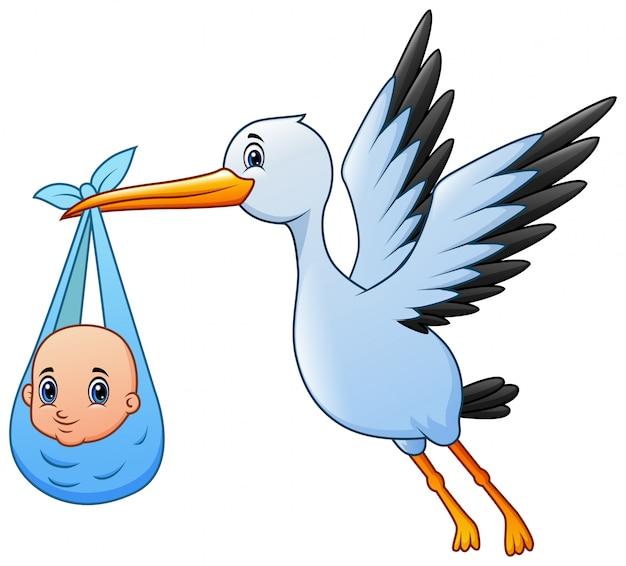 かわいい漫画の男の子と飛んでいるコウノトリ Premiumベクター