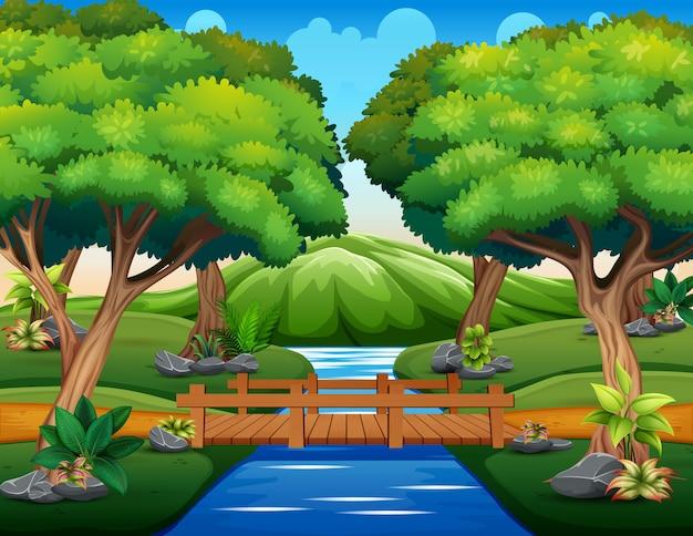 Мультфильм маленького деревянного моста в лесу Premium векторы