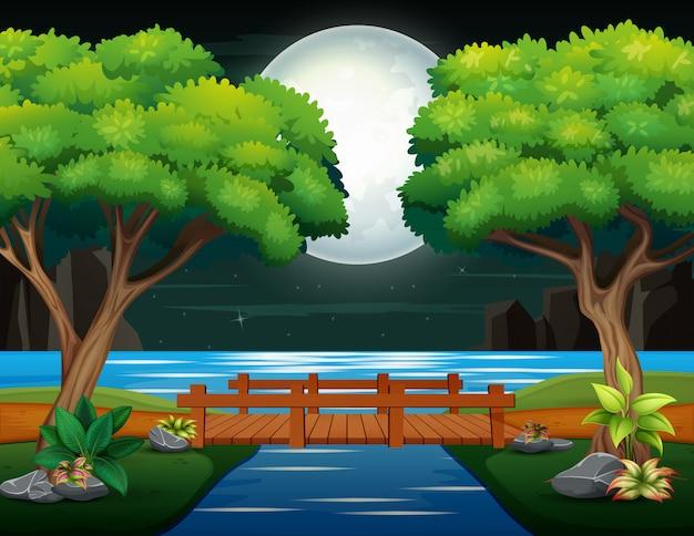 Деревянный мост через реку в ночной пейзаж Premium векторы