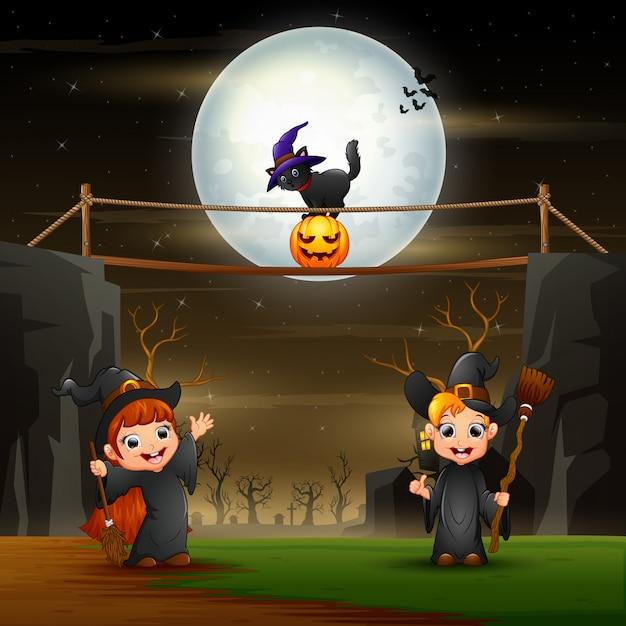 夜の魔女のハロウィーンイラスト Premiumベクター