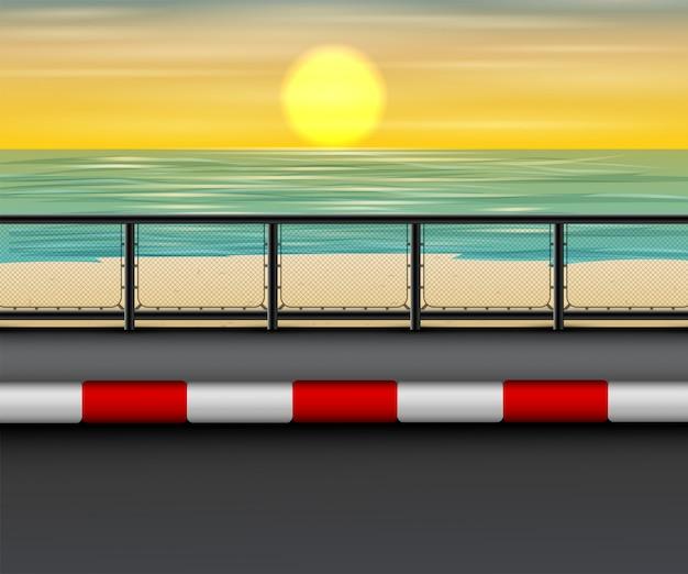 日没のビーチで道路の風景 Premiumベクター