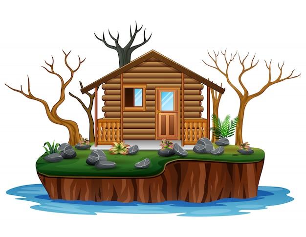 島の乾燥木と木造住宅 Premiumベクター