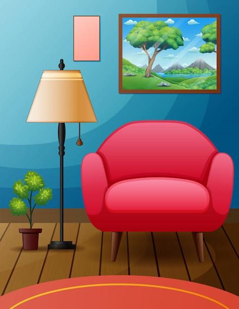 椅子と家具のあるシンプルな部屋 Premiumベクター