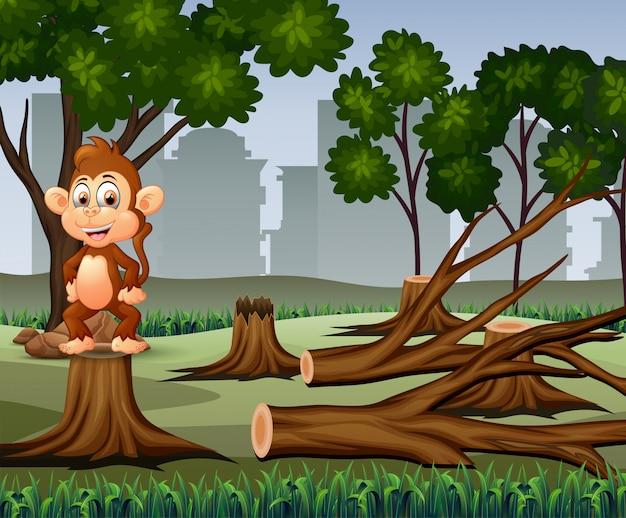 Сцена обезлесения с иллюстрацией обезьяны и древесины Premium векторы