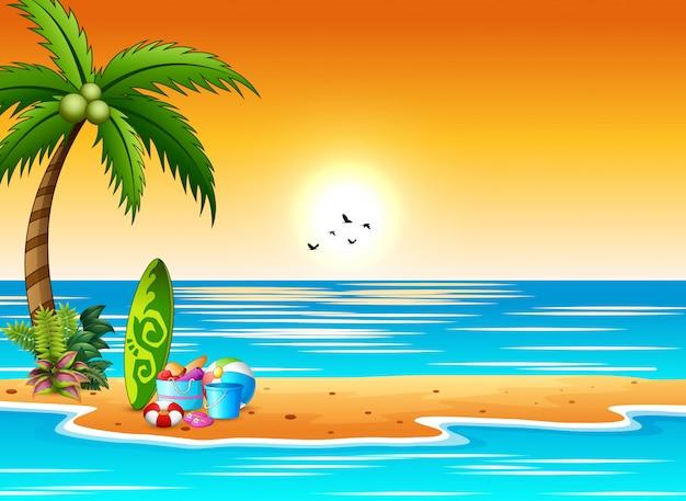 Элементы для серфинга и пляжа на берегу моря на закате Premium векторы