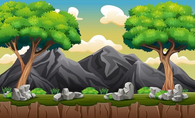 木と岩山のパノラマ Premiumベクター