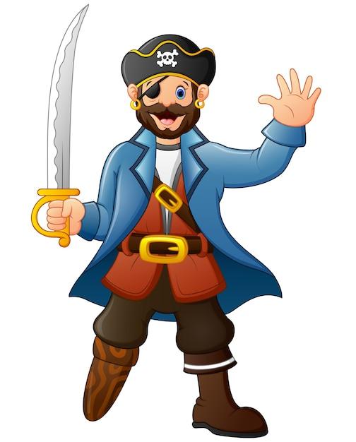 剣を持っている漫画の海賊 Premiumベクター