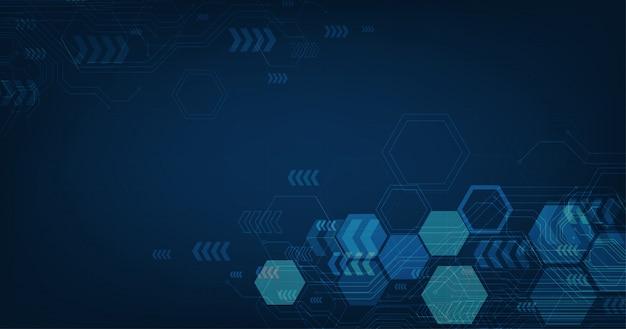 Абстрактный футуристический плат и шестиугольники, высокотехнологичные цифровые технологии и инженерия, концепция цифрового телекоммуникаций на фоне темно-синего цвета. Premium векторы