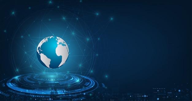 暗い青色の背景にベクトル抽象的な未来的なグローバル技術接続ネットワーク通信。 Premiumベクター