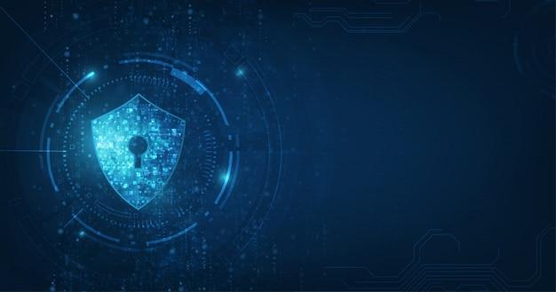 セキュリティデジタル技術の青い背景を抽象化します。 Premiumベクター