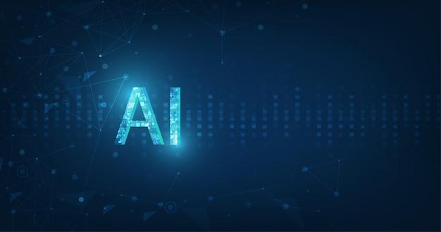 Абстрактный футуристический цифровой и технологии на фоне темно-синего цвета. Premium векторы