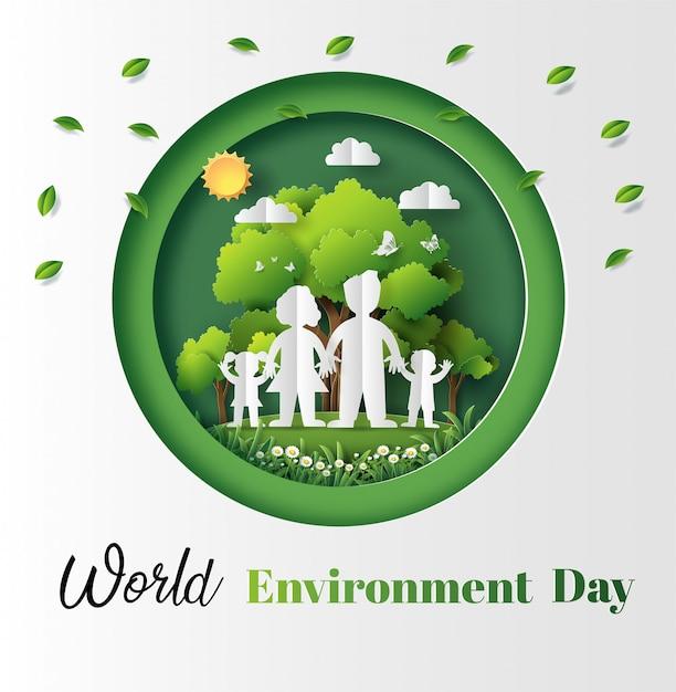 Бумага художественный стиль концепции всемирного дня окружающей среды. Premium векторы