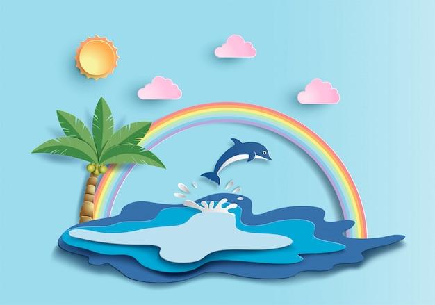 水中の多くの海の生き物と世界の海の日の概念。 Premiumベクター
