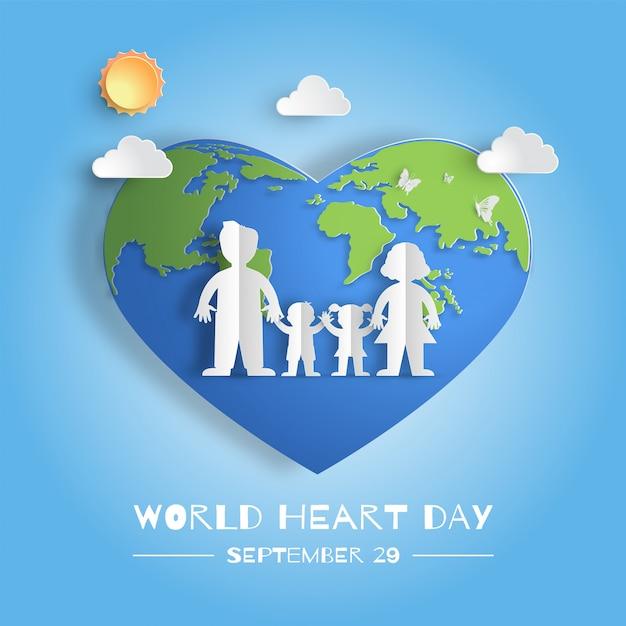 Всемирный день сердца концепция, семья, взявшись за руки. Premium векторы