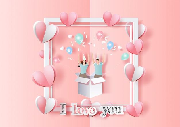 幸せなバレンタインデー、ポップアップカード、愛の手を上げたかわいいカップルが挙手し、パーティーで楽しい時を過します。 Premiumベクター