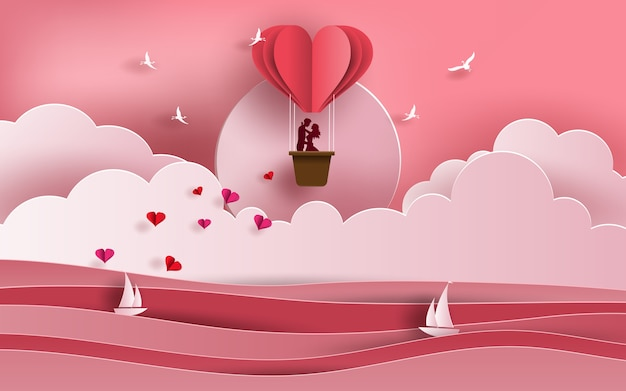 風船で海を渡るカップル Premiumベクター