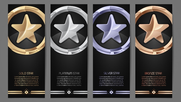 Набор черных баннеров Premium векторы