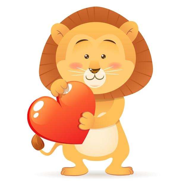 львенок с сердечком картинка
