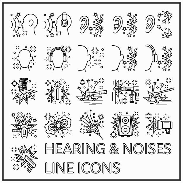 Графический дизайн знака линии слуха и шума. Premium векторы