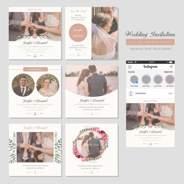 結婚式招待状ソーシャルメディアポスト Premiumベクター