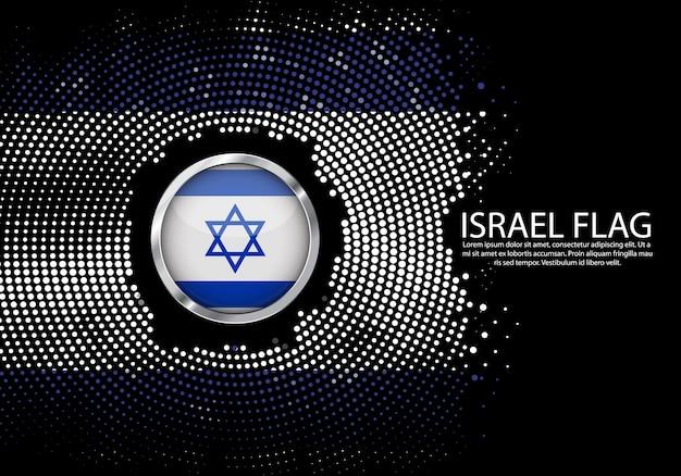 背景イスラエルの旗のハーフトーン勾配のテンプレート。 Premiumベクター