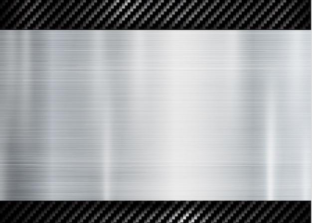 Абстрактная металлическая рамка на текстуре текстуры кевлара углерода Premium векторы