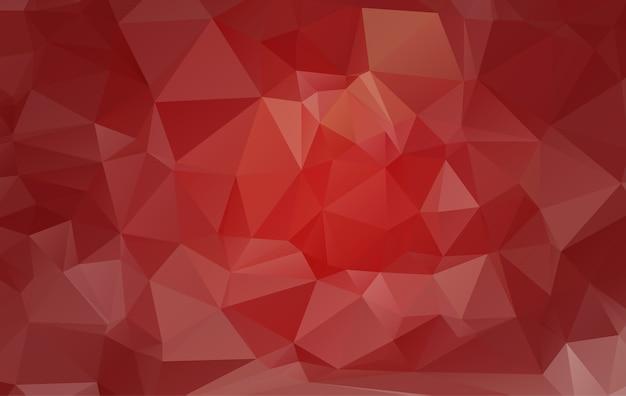 三角形からなる赤い多角形のイラスト。 Premiumベクター
