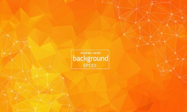 抽象的なオレンジ色の幾何学的多角形の背景 Premiumベクター