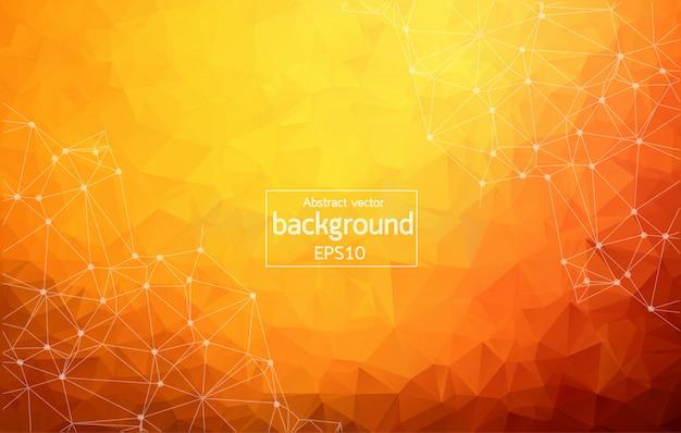 抽象的な暗いオレンジ色の幾何学的な多角形の背景 Premiumベクター