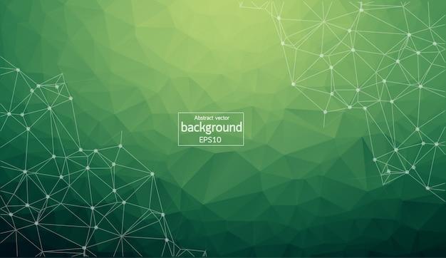 幾何学的な濃い緑色の多角形の背景 Premiumベクター