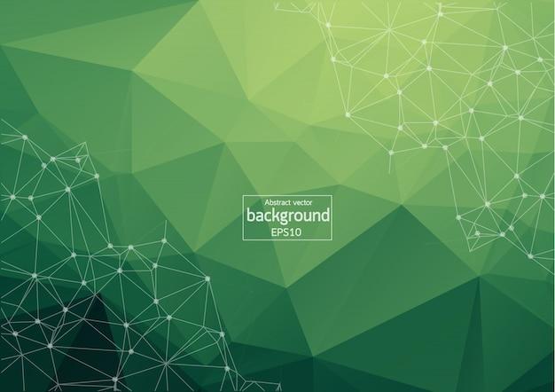 幾何学的な緑の多角形の背景 Premiumベクター