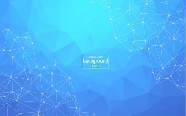 抽象的なダークブルーの多角形空間の背景 Premiumベクター