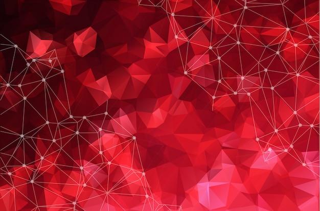 明るい赤の背景に抽象的な接続ドット。 Premiumベクター