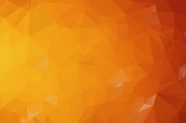 三角形から成る濃いオレンジ色の多角形図。グラデーションの折り紙スタイルの幾何学的な背景。あなたのビジネスのための三角形デザイン。 Premiumベクター