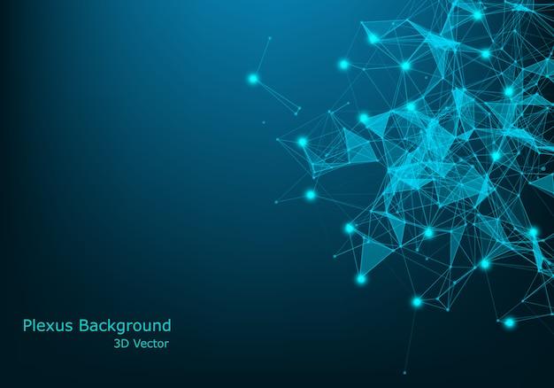 接続線とドットの抽象的な神経叢の背景。神経叢の幾何学的効果。ビッグデータと化合物ライン神経叢、最小配列。デジタルデータの視覚化 Premiumベクター