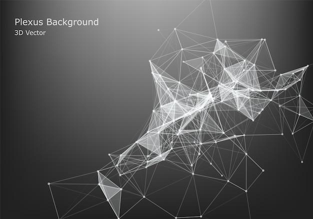 抽象的なインターネット接続と技術グラフィックデザイン。未来的なデータ。暗い背景上の点と線を接続すると低ポリ図形。 Premiumベクター